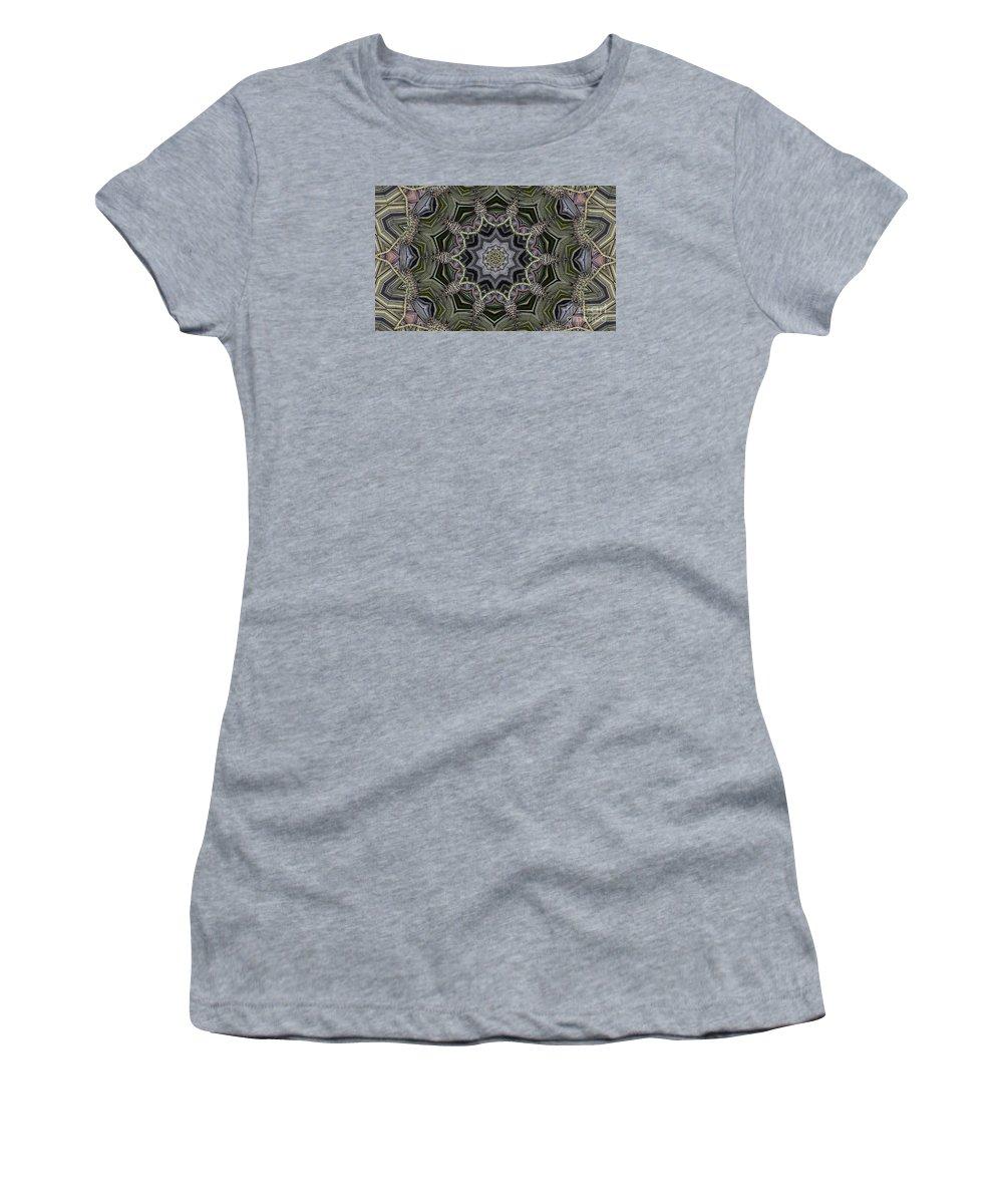 Kaleidoscope Women's T-Shirt (Athletic Fit) featuring the digital art Kaleidoscope 96 by Ron Bissett