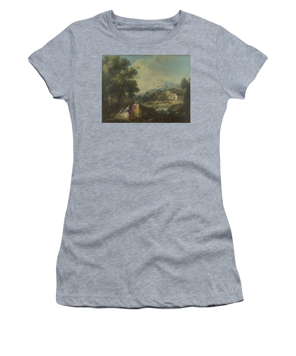 Giuseppe Women's T-Shirt (Athletic Fit) featuring the digital art Landscape With A Group Of Figures by PixBreak Art