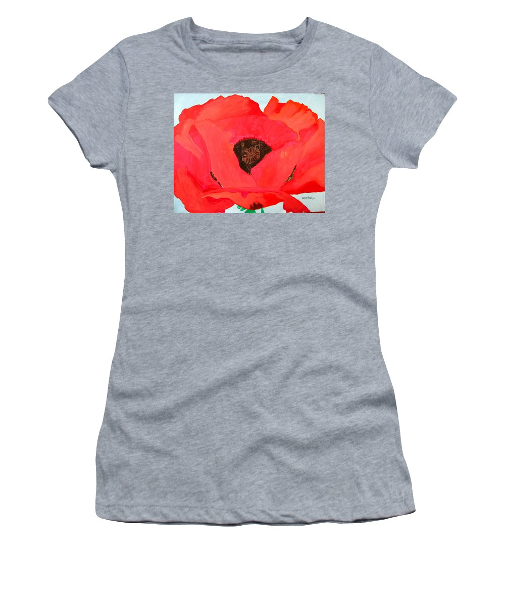 Poppy Women's T-Shirt (Athletic Fit) featuring the painting Large Poppy by Richard Le Page
