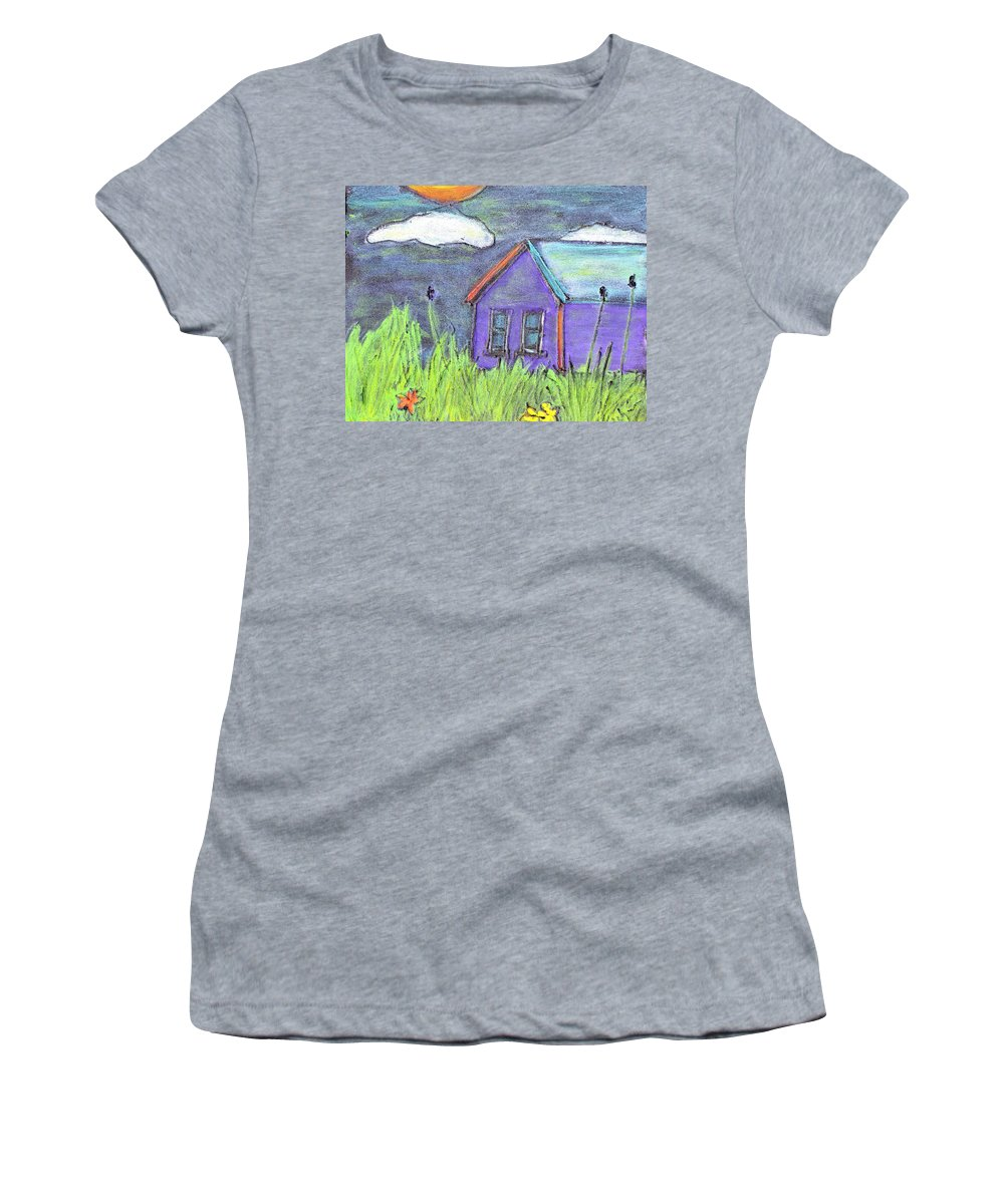 Abandoned Women's T-Shirt (Athletic Fit) featuring the painting Left Behind by Wayne Potrafka