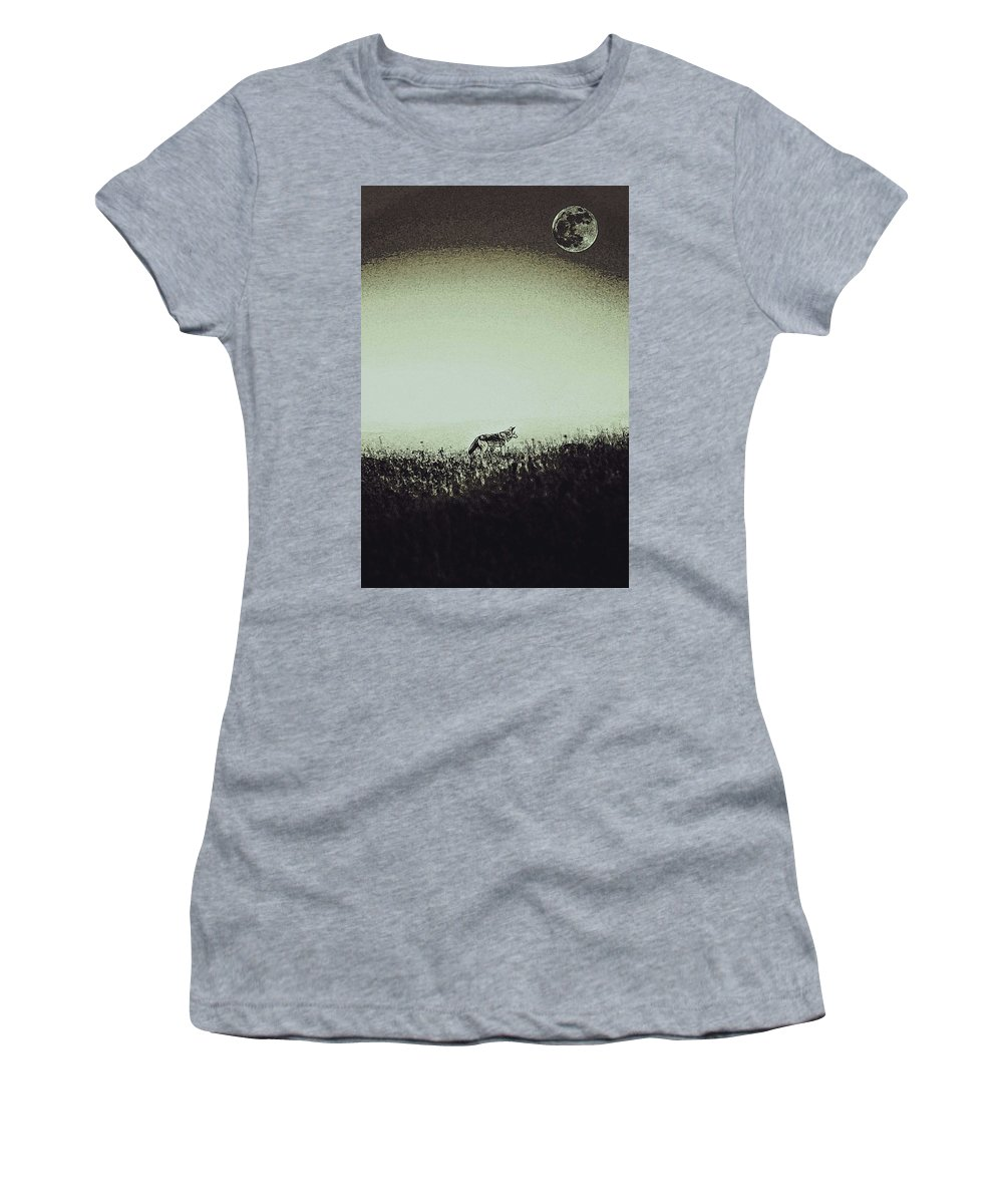 4349d223f Wolf Women's T-Shirt featuring the painting Lone Wolf And Full Moon by  Celestial Images