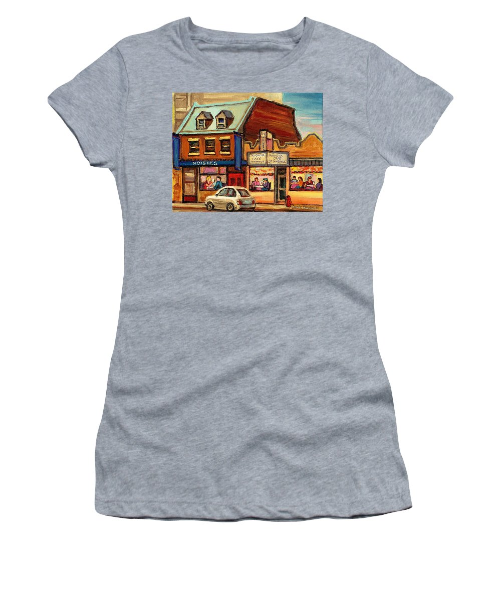 Moishes Women's T-Shirt (Athletic Fit) featuring the painting Moishes Steakhouse On The Main by Carole Spandau