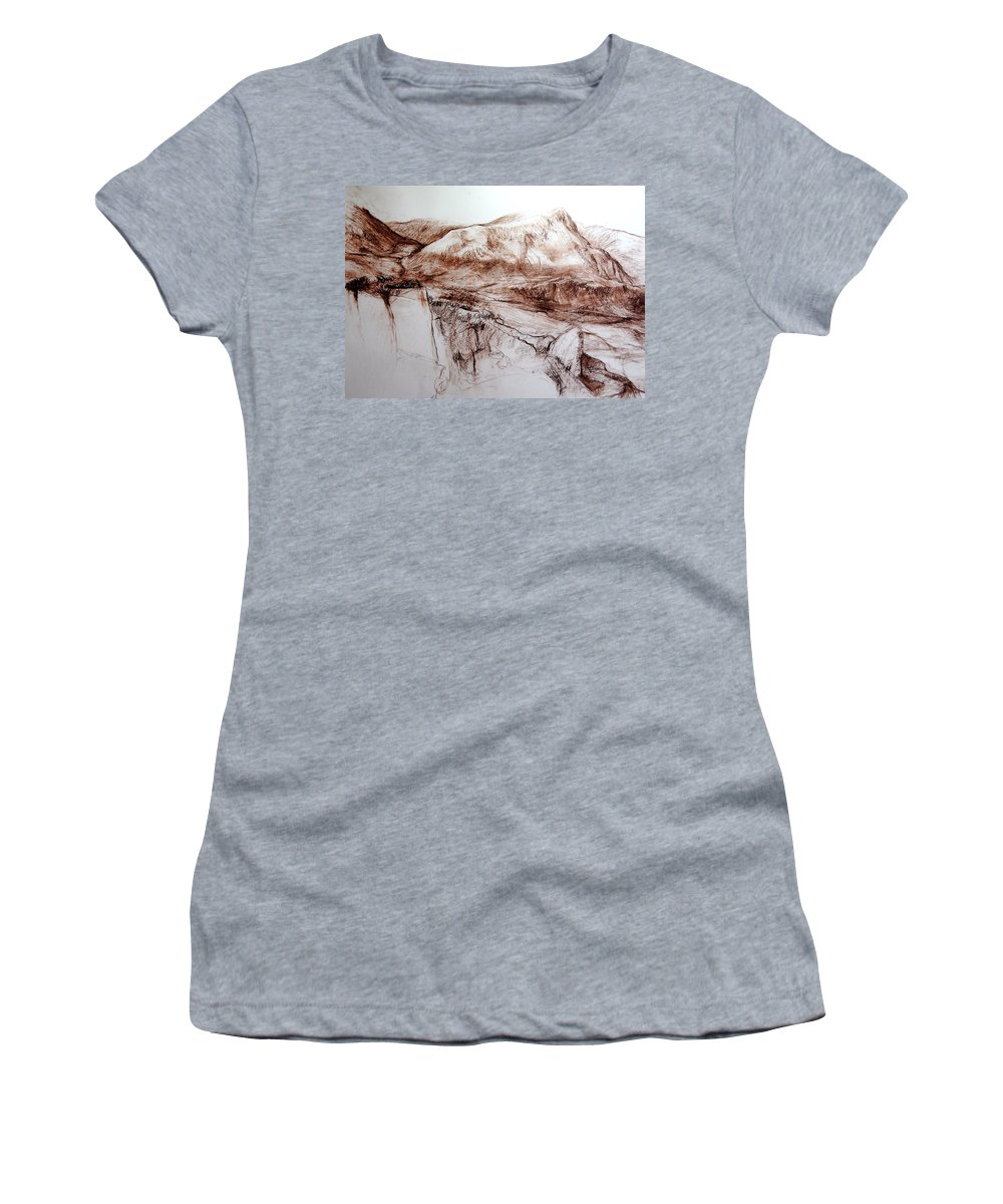 Mountains Women's T-Shirt (Athletic Fit) featuring the drawing Mountains In Snowdonia by Harry Robertson
