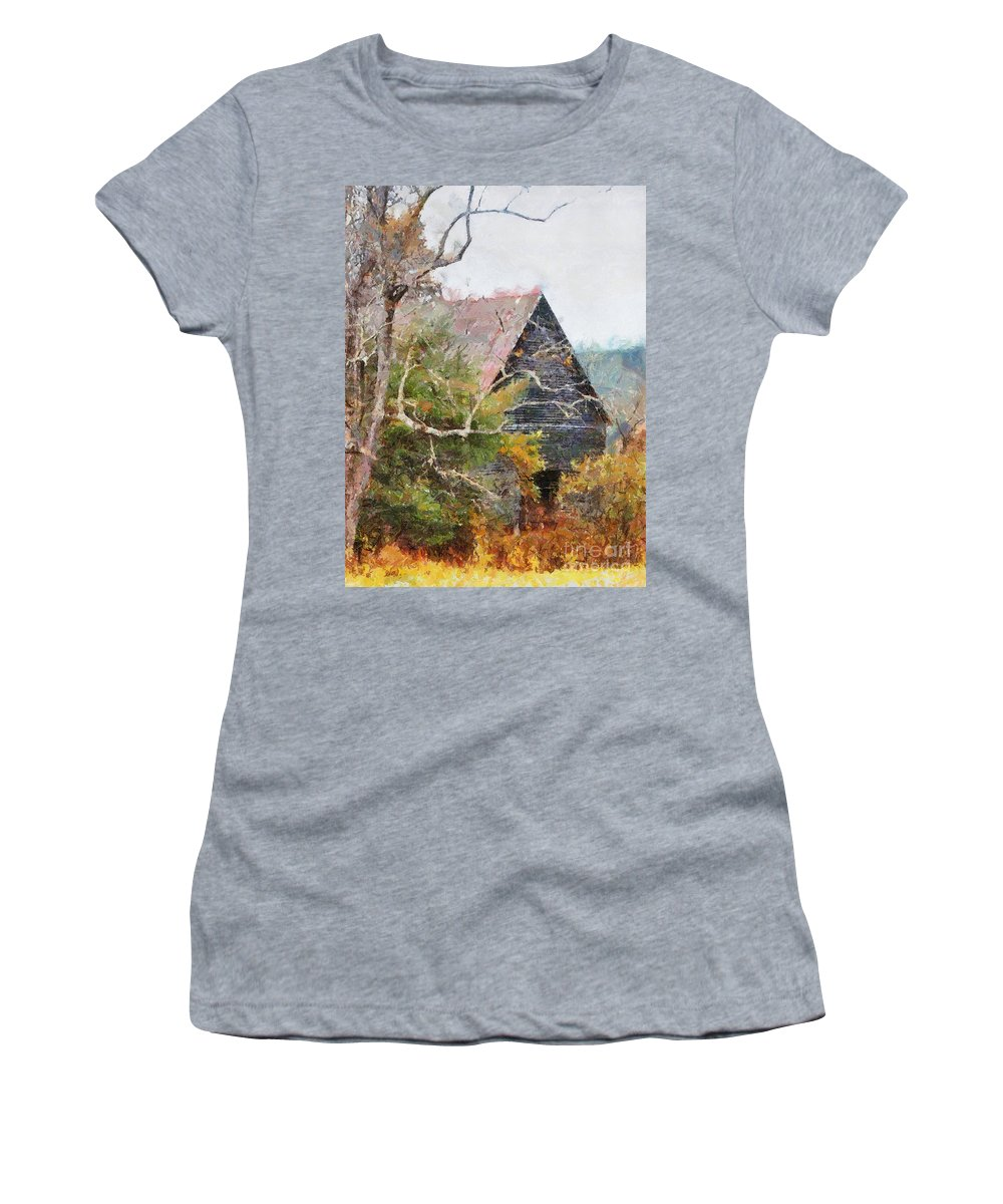 Landscape Women's T-Shirt featuring the digital art Old Barn At Cades Cove by Todd Blanchard