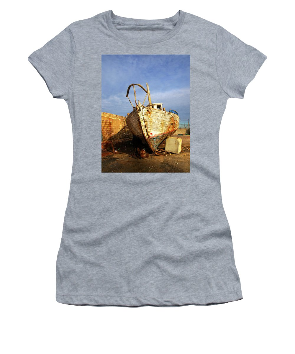 Old Women's T-Shirt (Athletic Fit) featuring the photograph Old Dilapidated Wooden Boat by Ofer Zilberstein