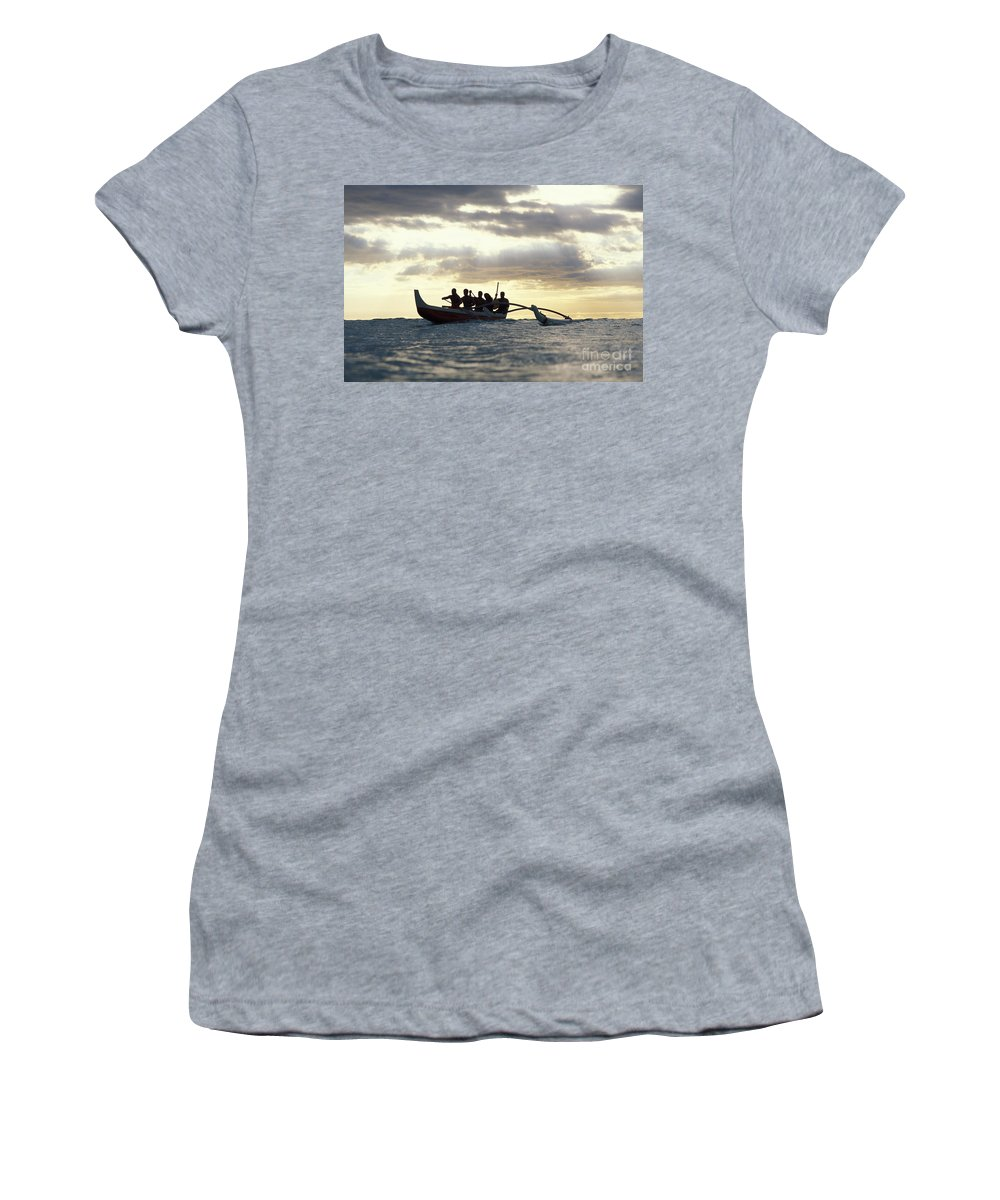 Blue Women's T-Shirt (Athletic Fit) featuring the photograph Outrigger Canoe by Vince Cavataio - Printscapes