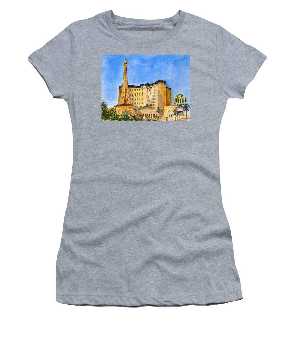 The Paris Women's T-Shirt featuring the painting Paris Hotel And Casino by Vicki Housel