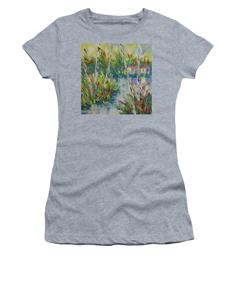 Frederic Payet Women's T-Shirt featuring the painting Provence South Of France by Frederic Payet