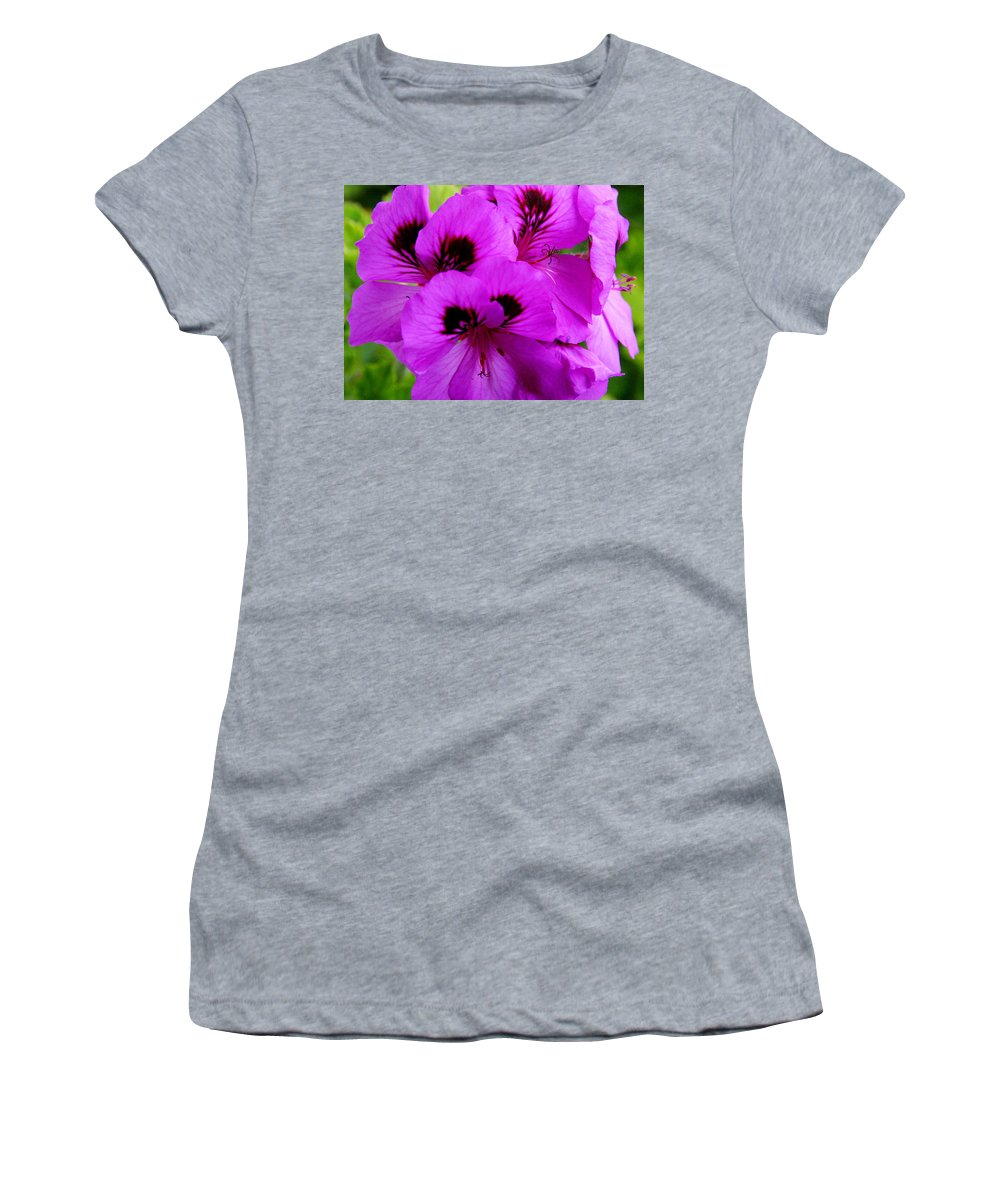Purple Flowers Women's T-Shirt (Athletic Fit) featuring the photograph Purple Flowers by Anthony Jones