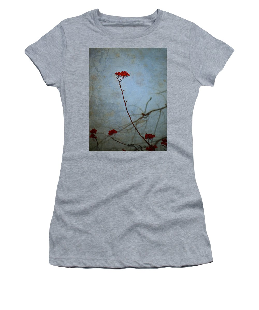 Blue Women's T-Shirt featuring the photograph Red Berries Blue Sky by Tara Turner
