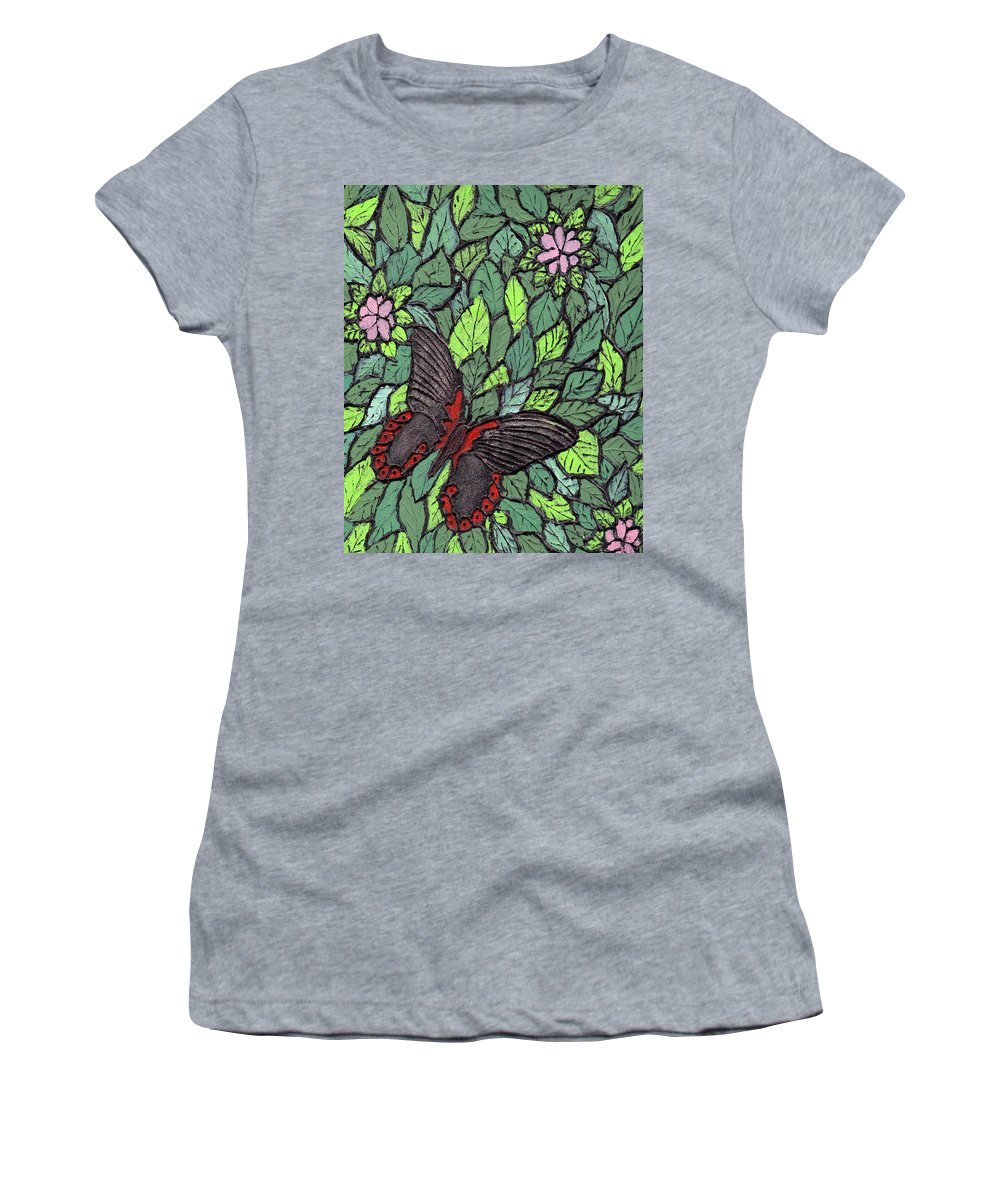 Butterfly Women's T-Shirt featuring the painting Red Butterfly by Wayne Potrafka