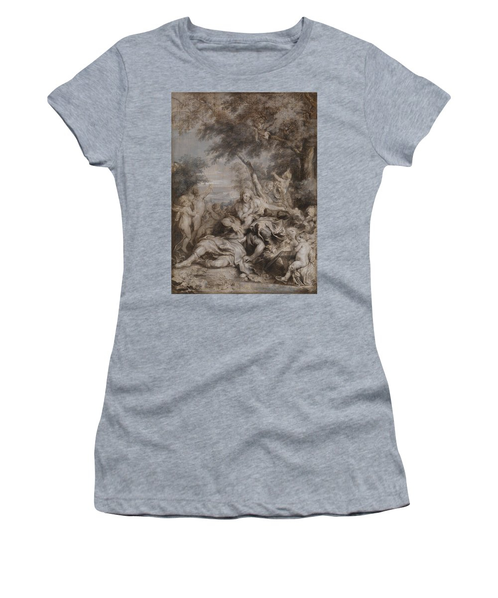 Anthony Women's T-Shirt (Athletic Fit) featuring the digital art Rinaldo Conquered By Love For Armida by PixBreak Art