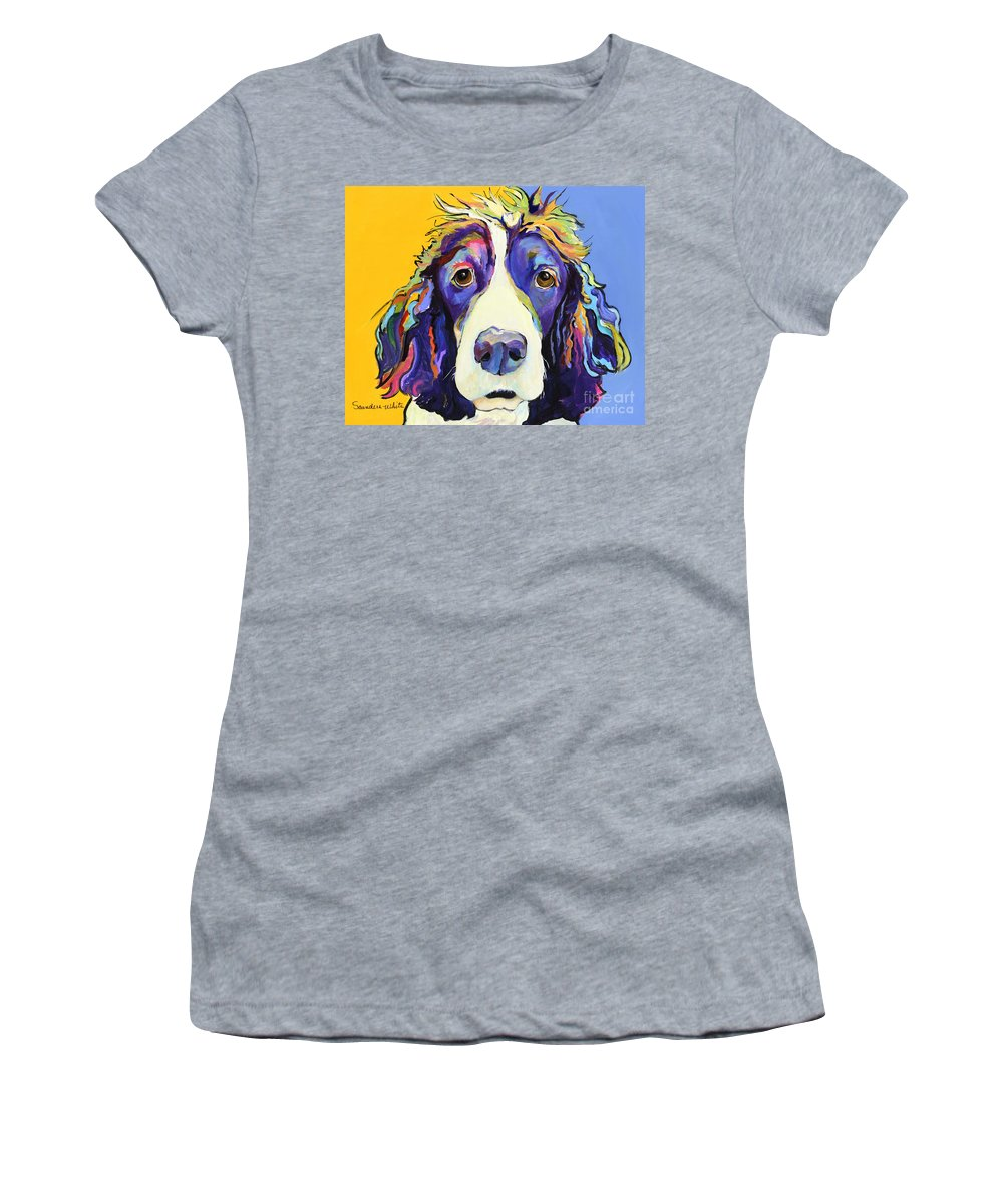 Blue Women's T-Shirt featuring the painting Sadie by Pat Saunders-White