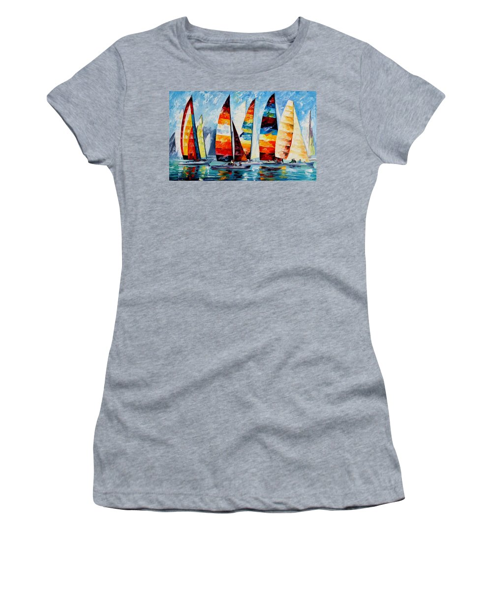 Afremov Women's T-Shirt featuring the painting Sail Regatta by Leonid Afremov