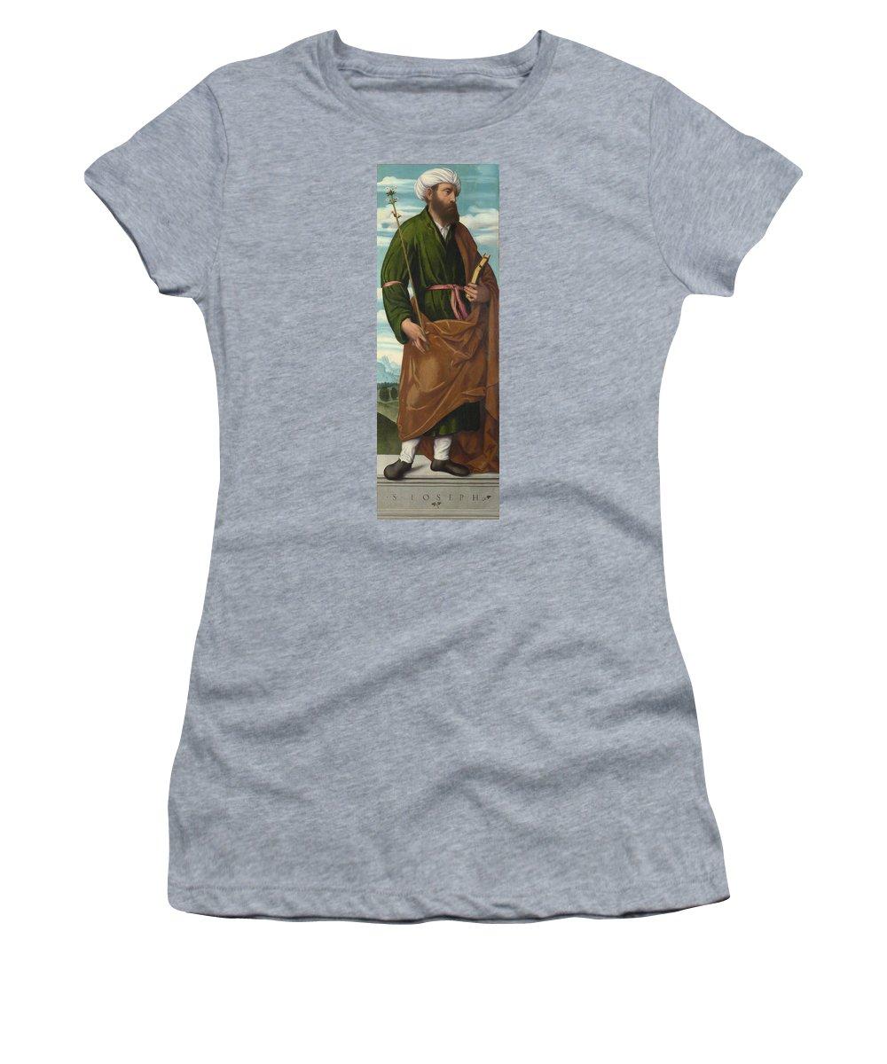 Moretto Women's T-Shirt (Athletic Fit) featuring the digital art Saint Joseph by PixBreak Art