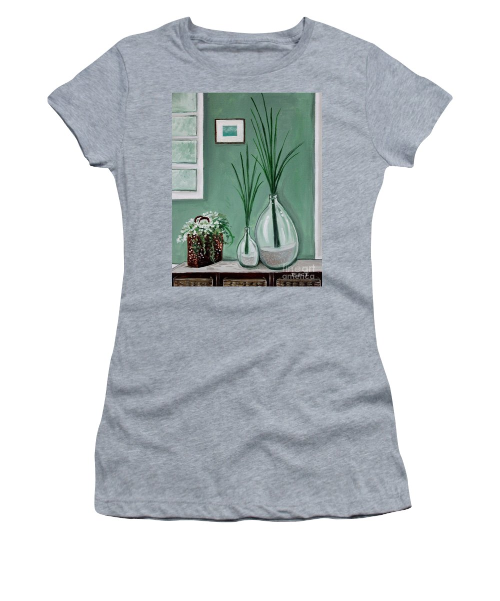 Home Decor Art Women's T-Shirt (Athletic Fit) featuring the painting Sea Grass by Elizabeth Robinette Tyndall