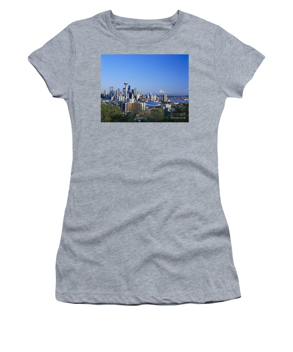 Across Women's T-Shirt (Athletic Fit) featuring the photograph Seattle Skyline by Greg Vaughn - Printscapes