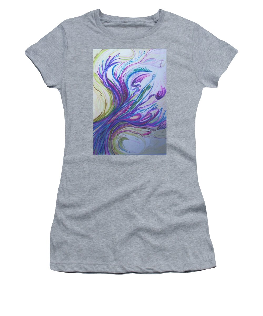 Abstract Women's T-Shirt (Athletic Fit) featuring the painting Seaweedy by Suzanne Udell Levinger