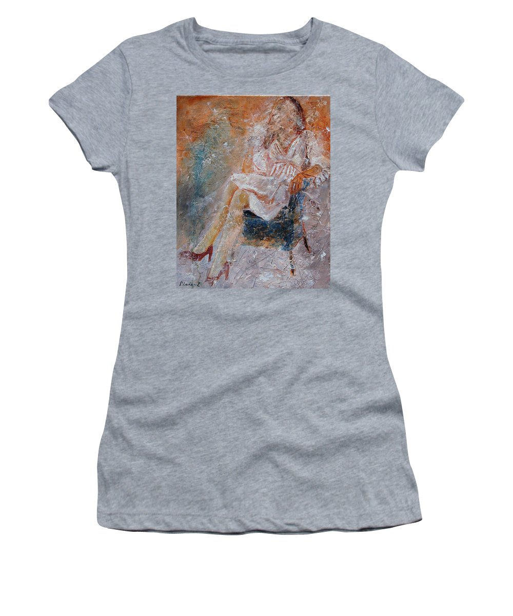 Girl Women's T-Shirt featuring the painting Sitting Young Girl by Pol Ledent