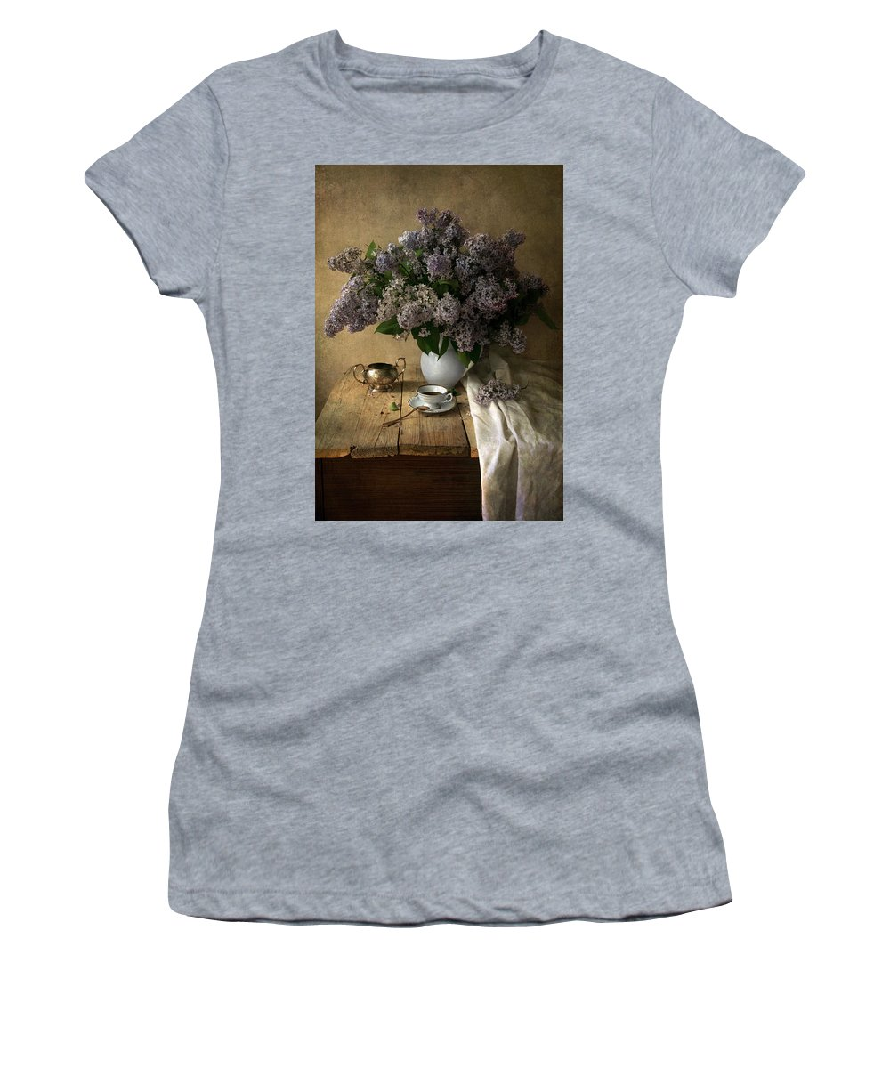 Fowers Women's T-Shirt (Athletic Fit) featuring the photograph Still Life With Bouquet Of Fresh Lilacs by Jaroslaw Blaminsky