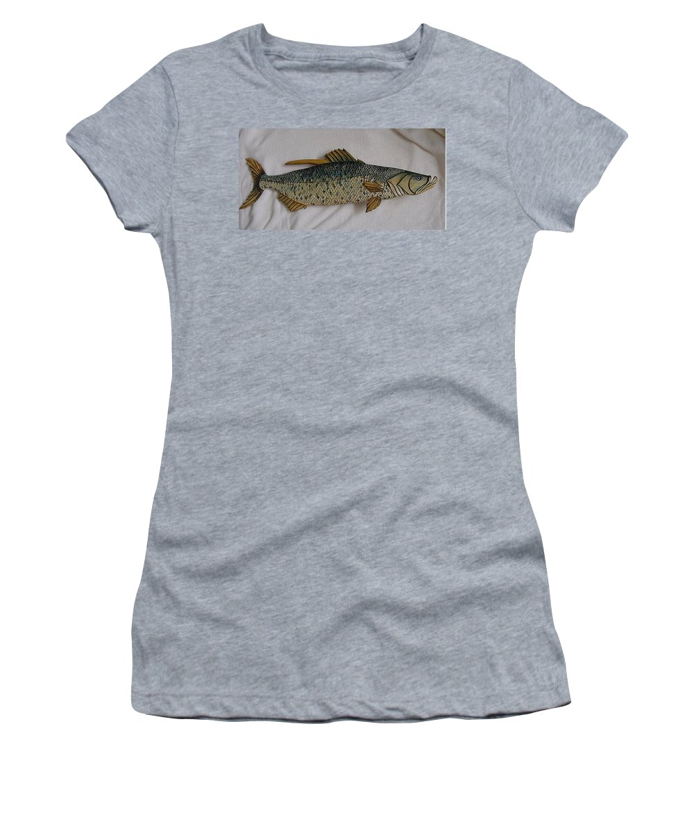Tarpon Women's T-Shirt (Athletic Fit) featuring the relief Tarpon Number Nine Wooden Fish by Lisa Ruggiero