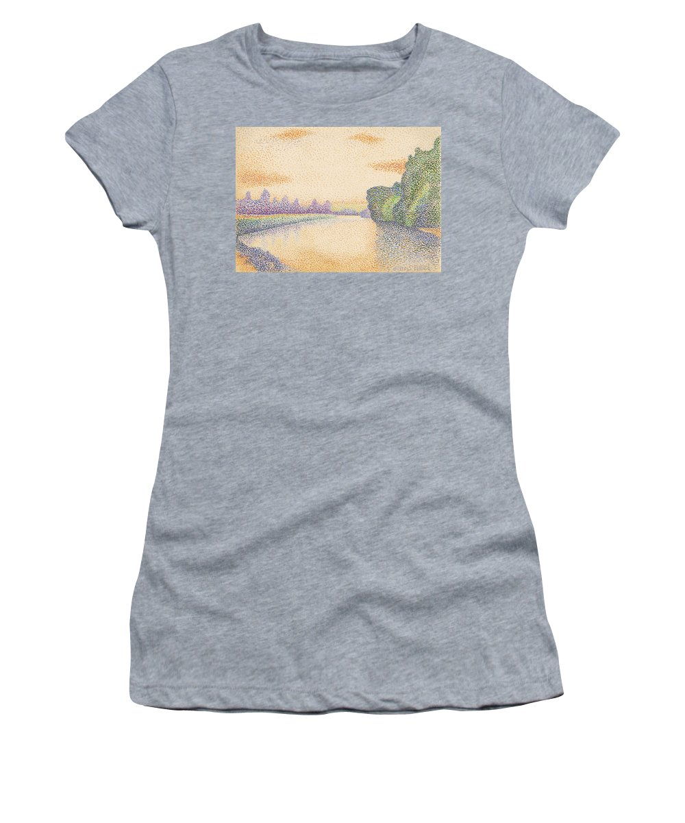 Albert Dubois-pillet Women's T-Shirt (Athletic Fit) featuring the drawing The Banks Of The Marne At Dawn by Albert Dubois-Pillet