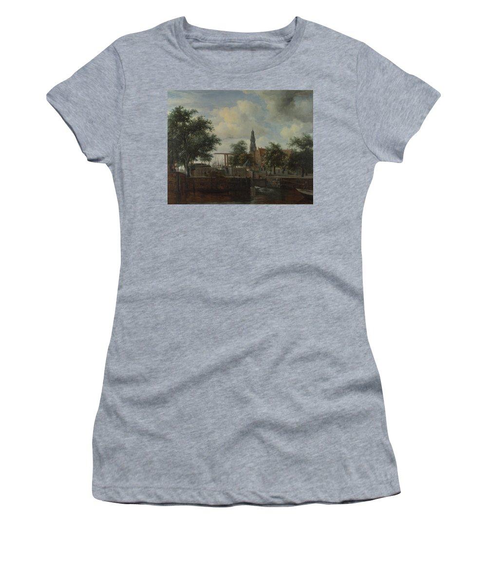 Meindert Women's T-Shirt (Athletic Fit) featuring the digital art The Haarlem Lock Amsterdam by PixBreak Art