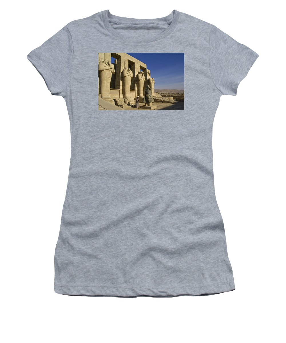 Egypt Women's T-Shirt (Athletic Fit) featuring the photograph The Ramesseum by Michele Burgess