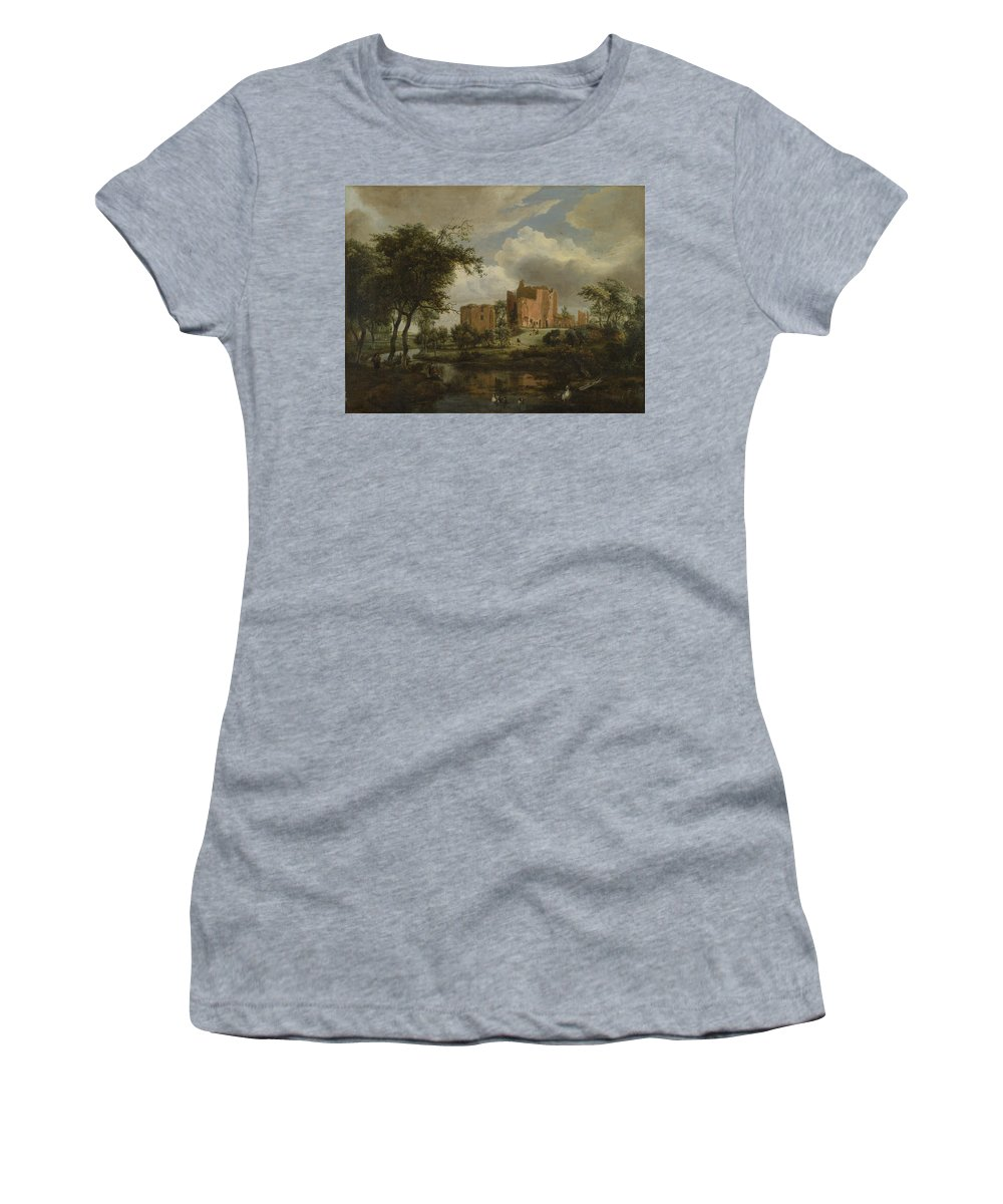 Meindert Women's T-Shirt (Athletic Fit) featuring the digital art The Ruins Of Brederode Castle by PixBreak Art