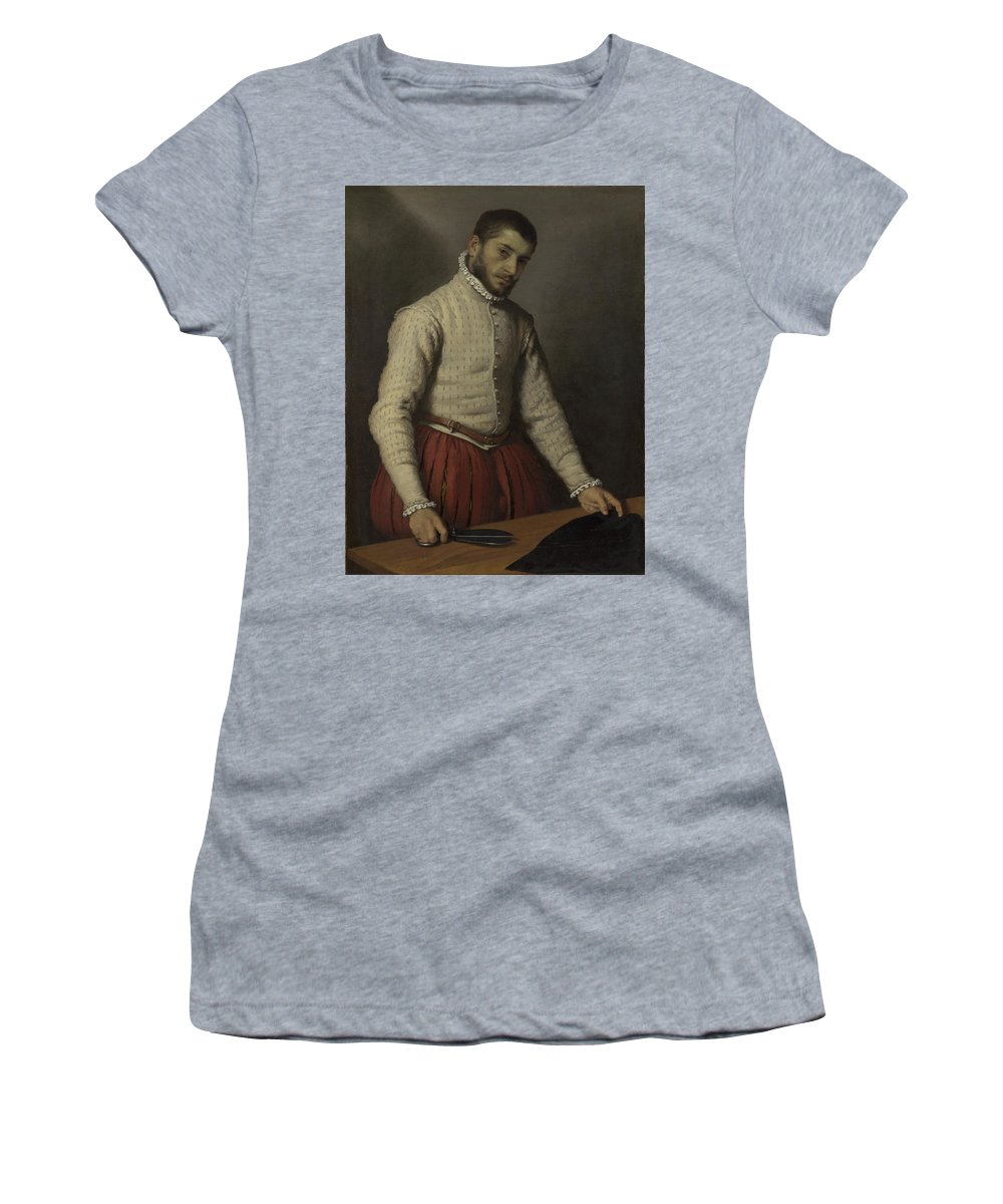 Giovanni Women's T-Shirt (Athletic Fit) featuring the digital art The Tailor Il Tagliapanni by PixBreak Art