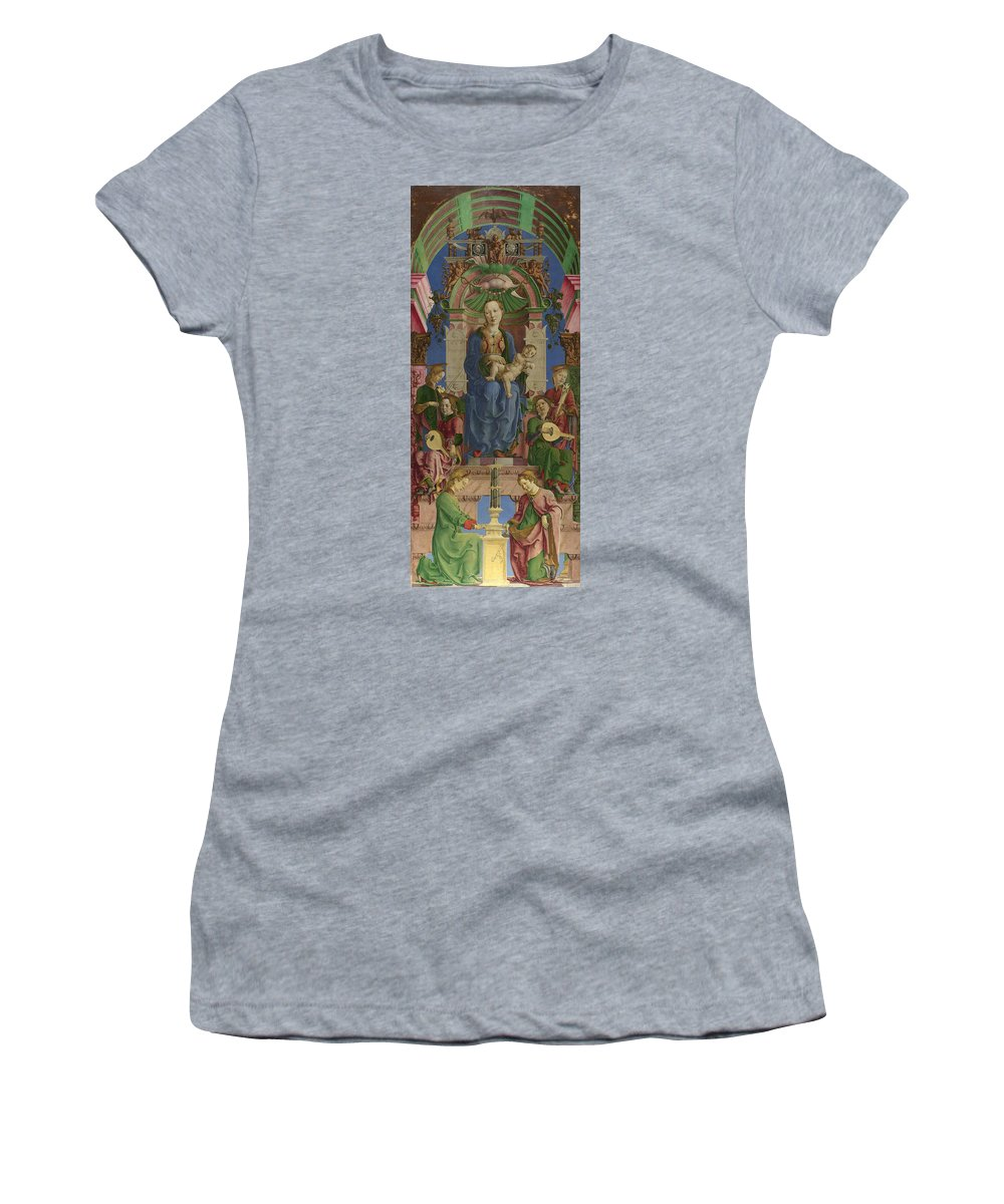 Cosimo Women's T-Shirt (Athletic Fit) featuring the digital art The Virgin And Child Enthroned by PixBreak Art