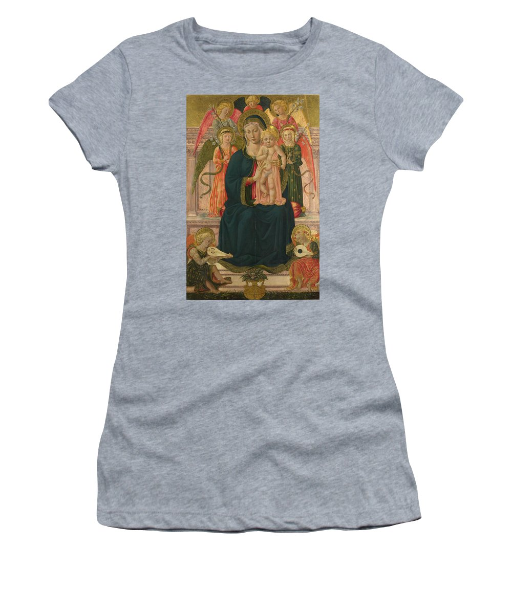 After Women's T-Shirt (Athletic Fit) featuring the digital art The Virgin And Child Enthroned With Angels by PixBreak Art
