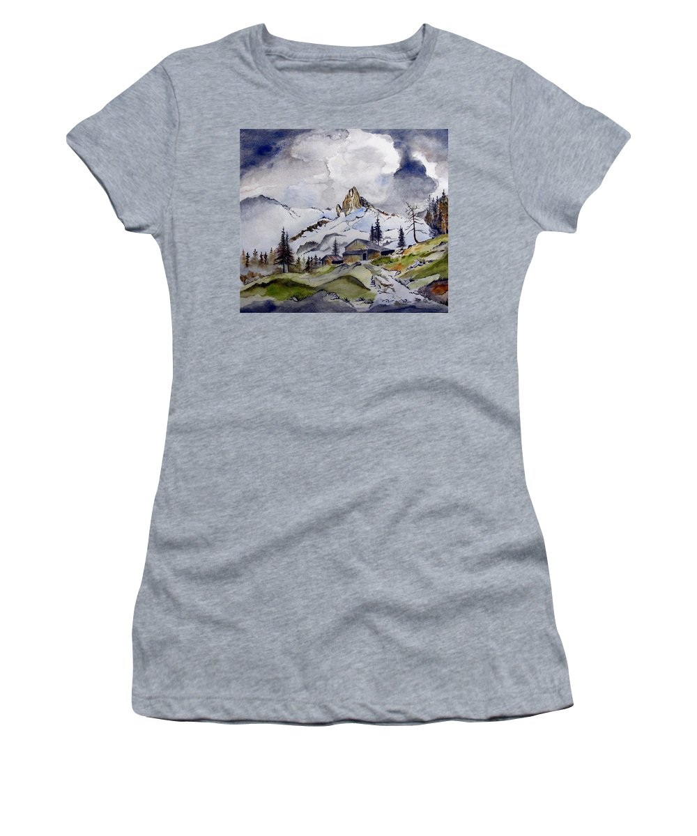 Cabin Women's T-Shirt (Athletic Fit) featuring the painting Tigers Tooth Peak by Jimmy Smith