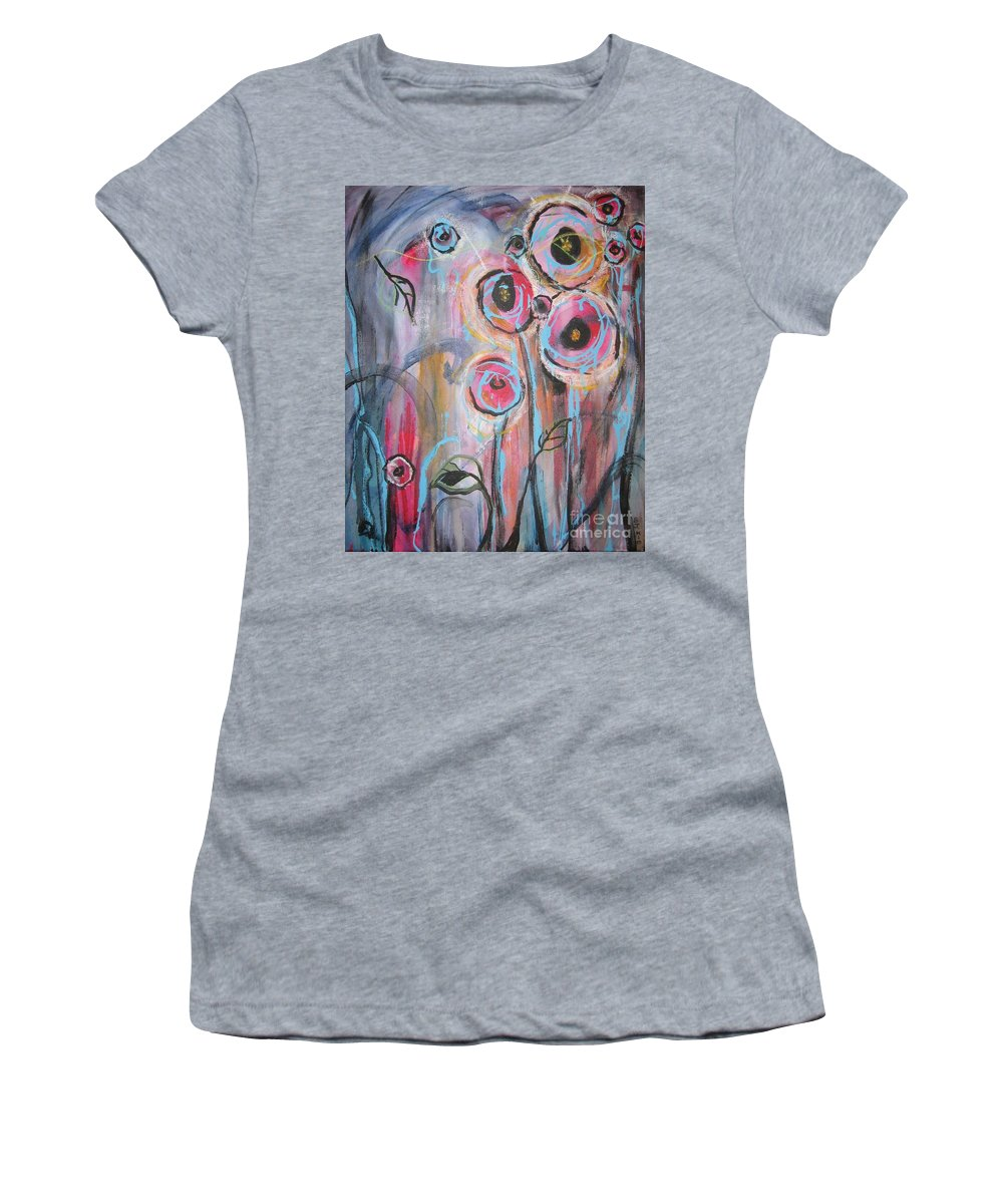 Aabstract Paintings Women's T-Shirt (Athletic Fit) featuring the painting Too Many Temptations by Seon-Jeong Kim