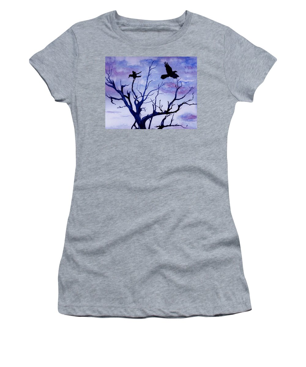 Watercolor Landscape Birds Raven Crow Flight Tree Sunset Sky Blue Clouds Scenic Women's T-Shirt (Athletic Fit) featuring the painting Twilight Flight by Brenda Owen