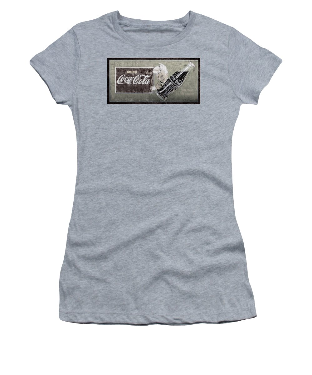Coca Cola Women's T-Shirt featuring the photograph Vintage 1916 Hand Painted Coca Cola Sign by John Stephens