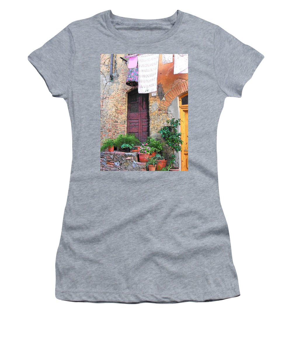 Tuscany Women's T-Shirt featuring the photograph Washing Day Tuscany by Jan Matson