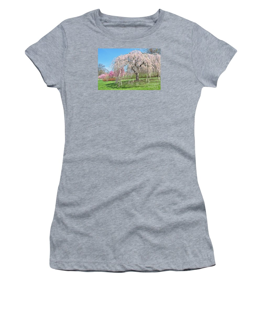 New Jersey Landscape Women's T-Shirt (Athletic Fit) featuring the photograph Weeping Cherry Tree by Regina Geoghan