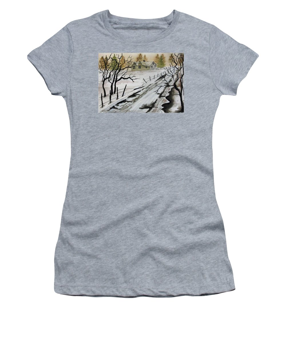 Building Women's T-Shirt (Athletic Fit) featuring the painting Winter Farmhouse by Jimmy Smith