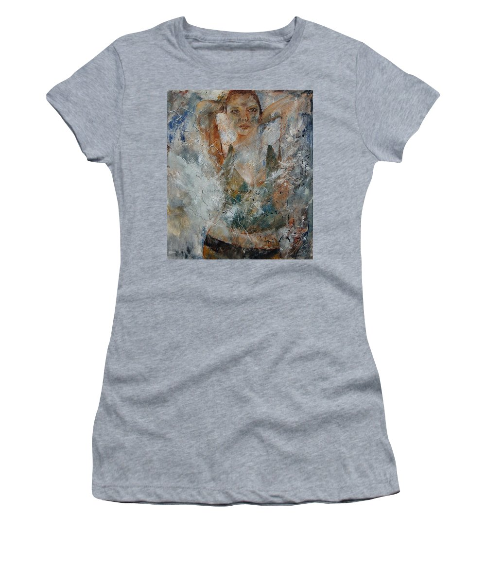 Girl Women's T-Shirt (Athletic Fit) featuring the painting Young Girl 679080 by Pol Ledent