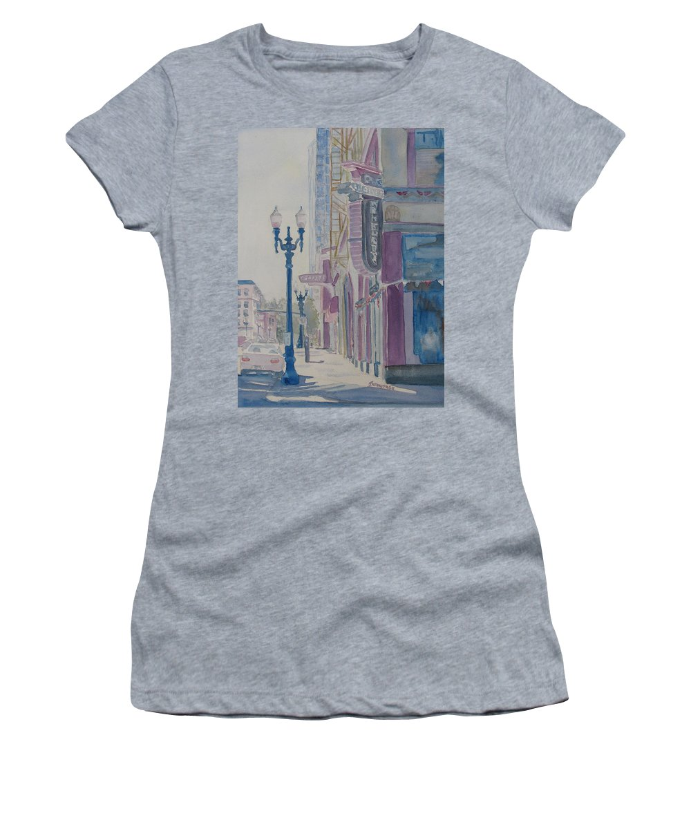 Landscape Women's T-Shirt (Athletic Fit) featuring the painting 10th And Washington Or The Carpet Seller by Jenny Armitage