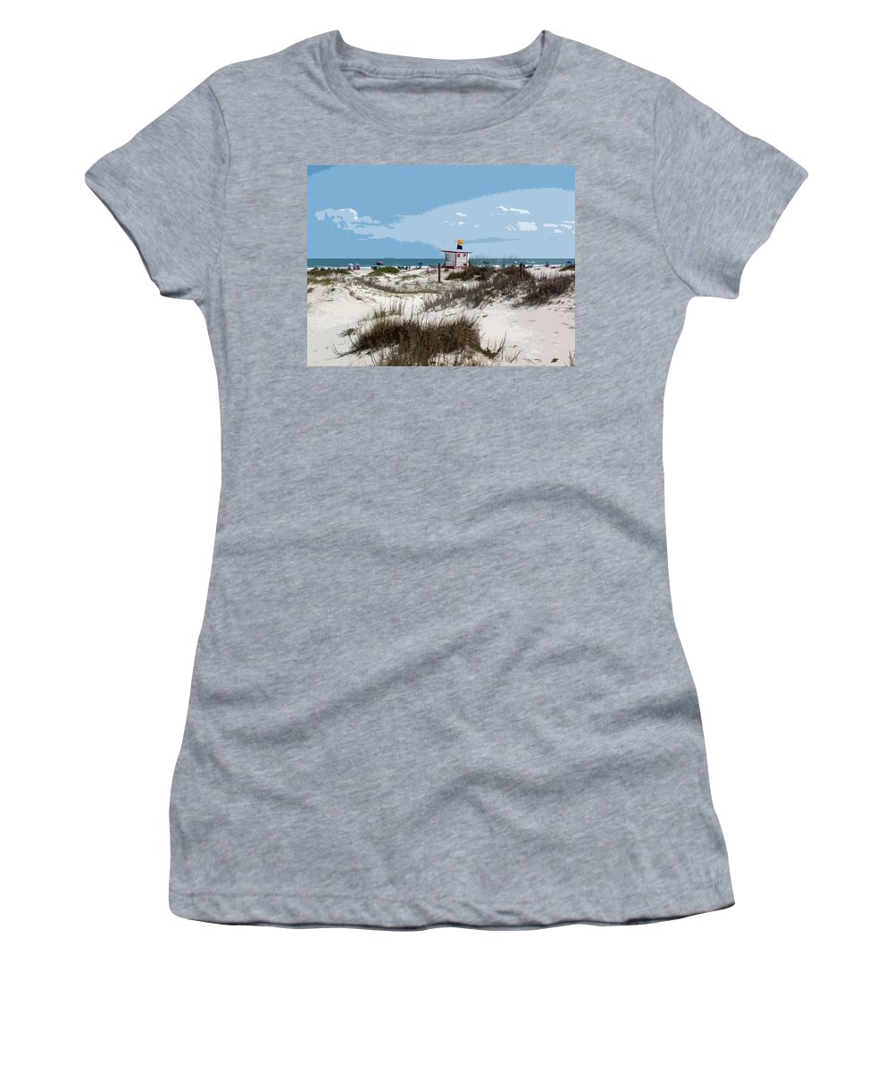 Florida Women's T-Shirt (Athletic Fit) featuring the painting Jetty Park On Cape Canaveral In Florida by Allan Hughes