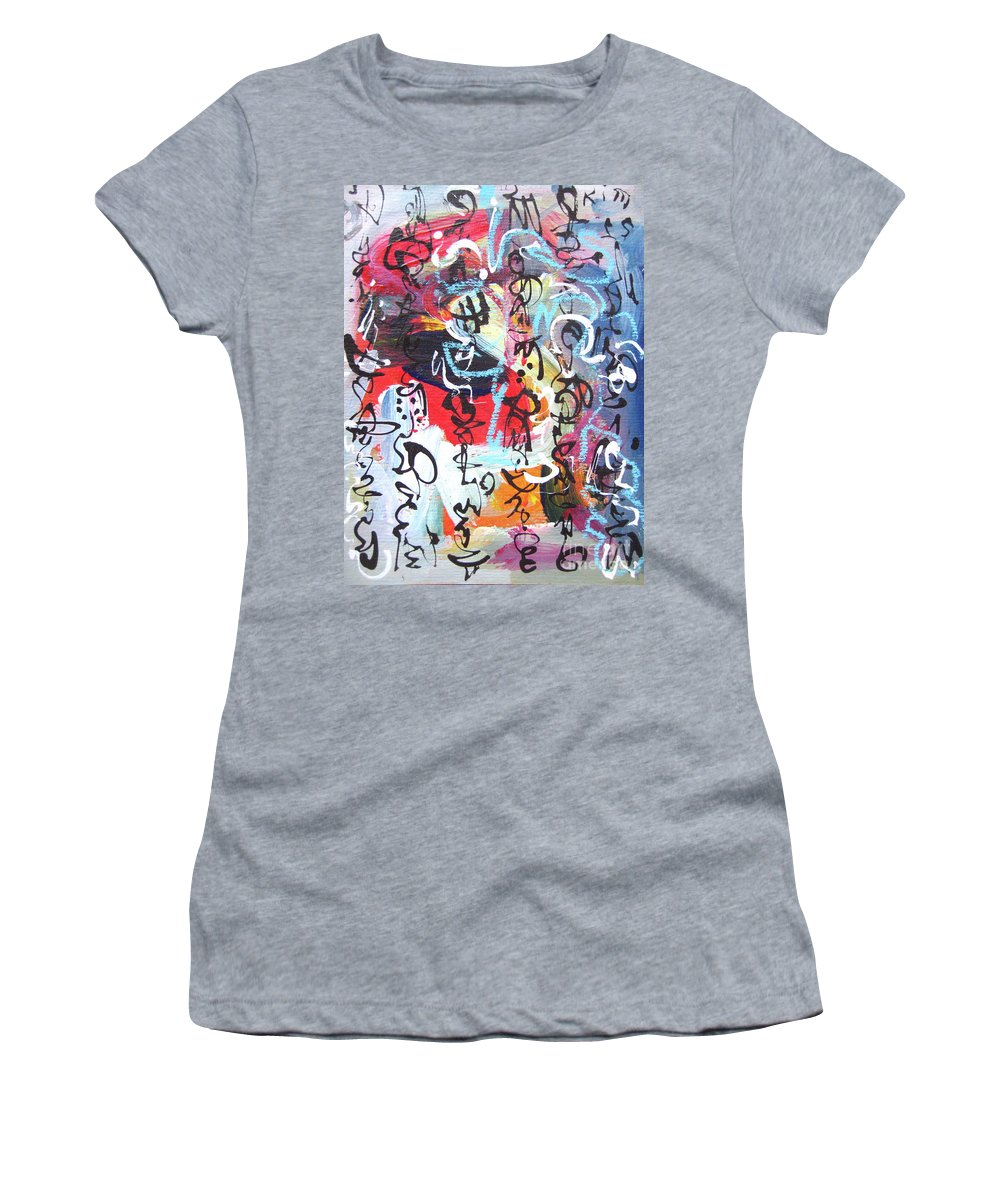 Abstract Landscape Painting Women's T-Shirt (Athletic Fit) featuring the painting Abstract Calligraphy by Seon-jeong Kim