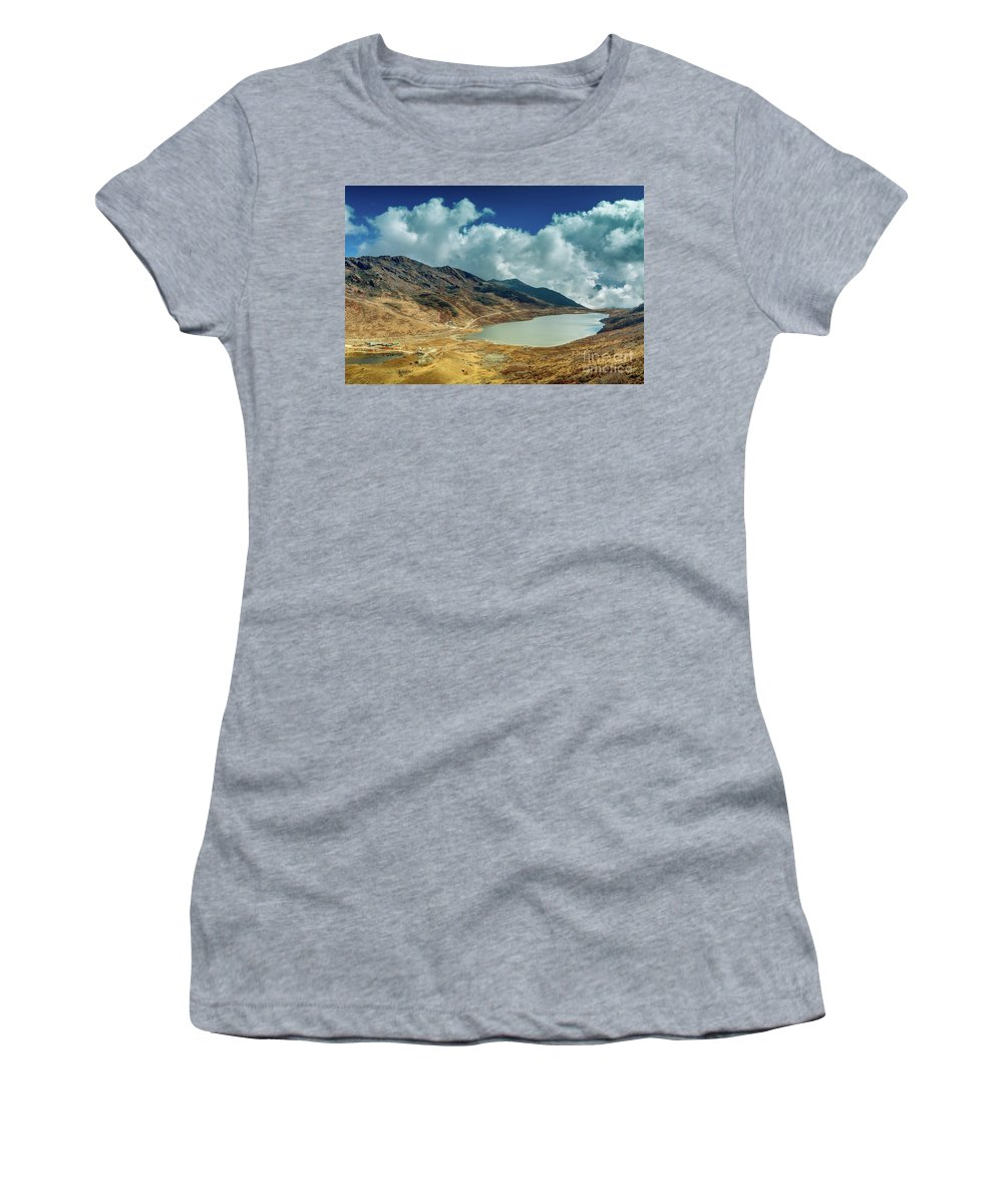 Himalaya Women's T-Shirt (Athletic Fit) featuring the photograph Elephant Lake, Kupup Valley, Sikkim, India by Rudra Narayan Mitra