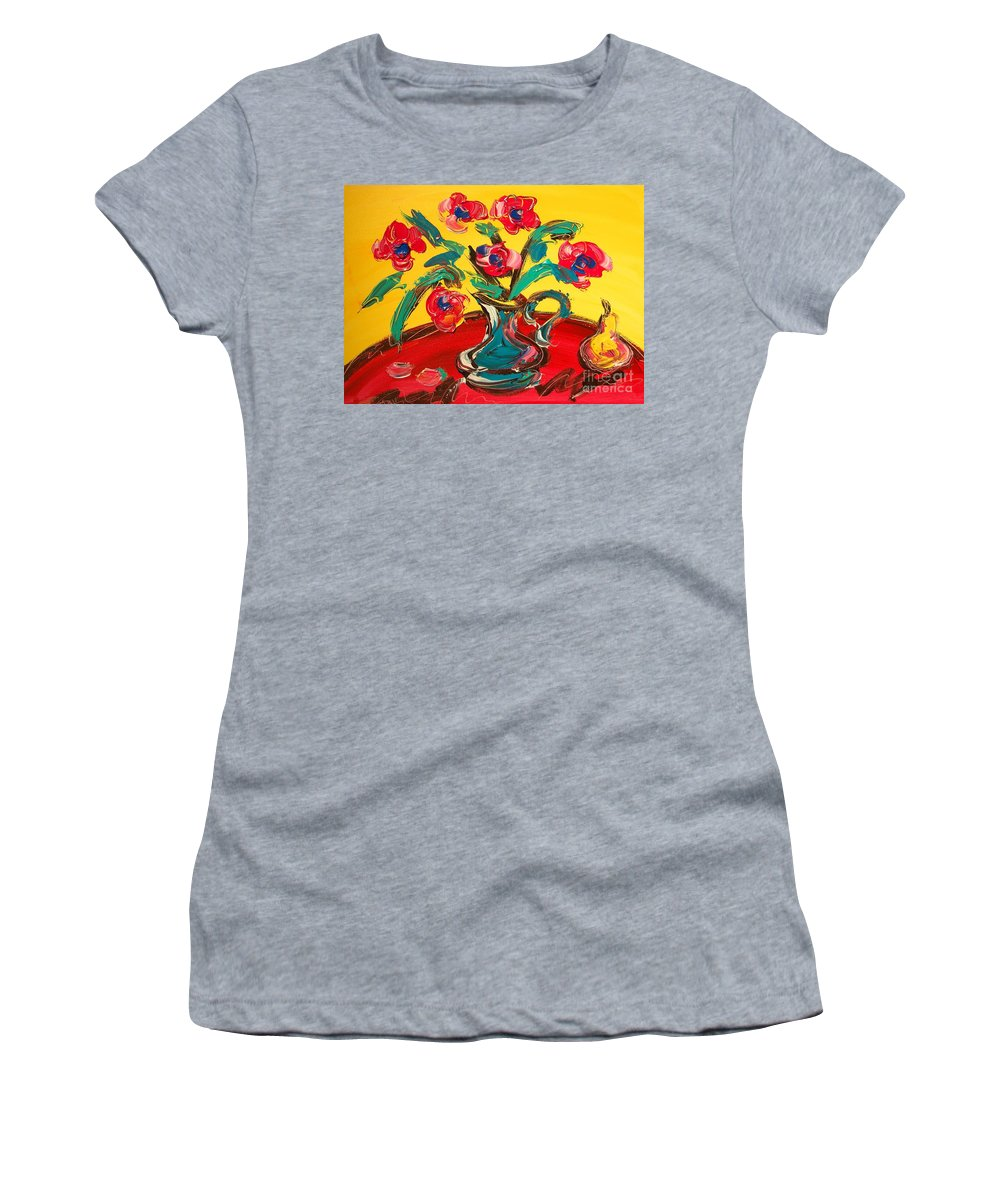 Flowers Women's T-Shirt (Athletic Fit) featuring the painting Flowers by Mark Kazav
