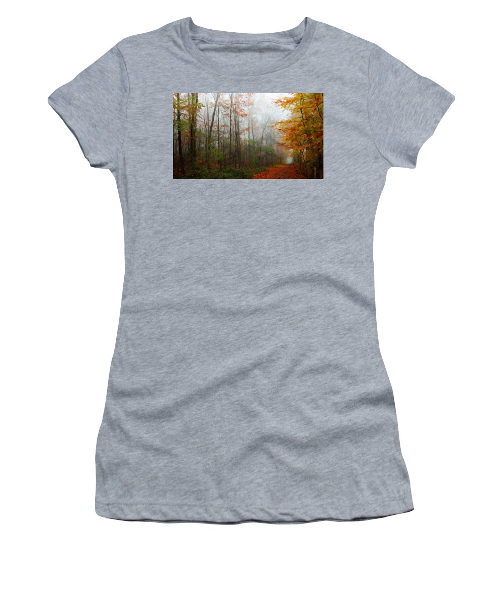 Landscape Women's T-Shirt (Athletic Fit) featuring the painting Nature Landscape Artwork by World Map