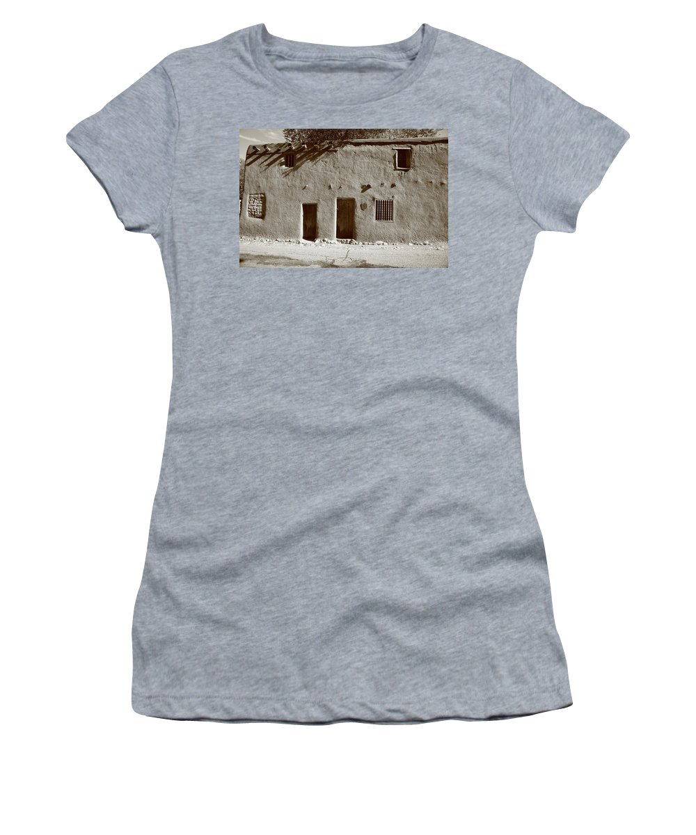 Adobe Women's T-Shirt (Athletic Fit) featuring the photograph Santa Fe - Adobe Building by Frank Romeo