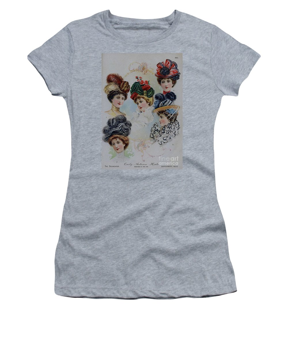19 Century Women's T-Shirt featuring the painting 19 Century Ladies Hats The Delineator Early Autumn Hats by R Muirhead Art