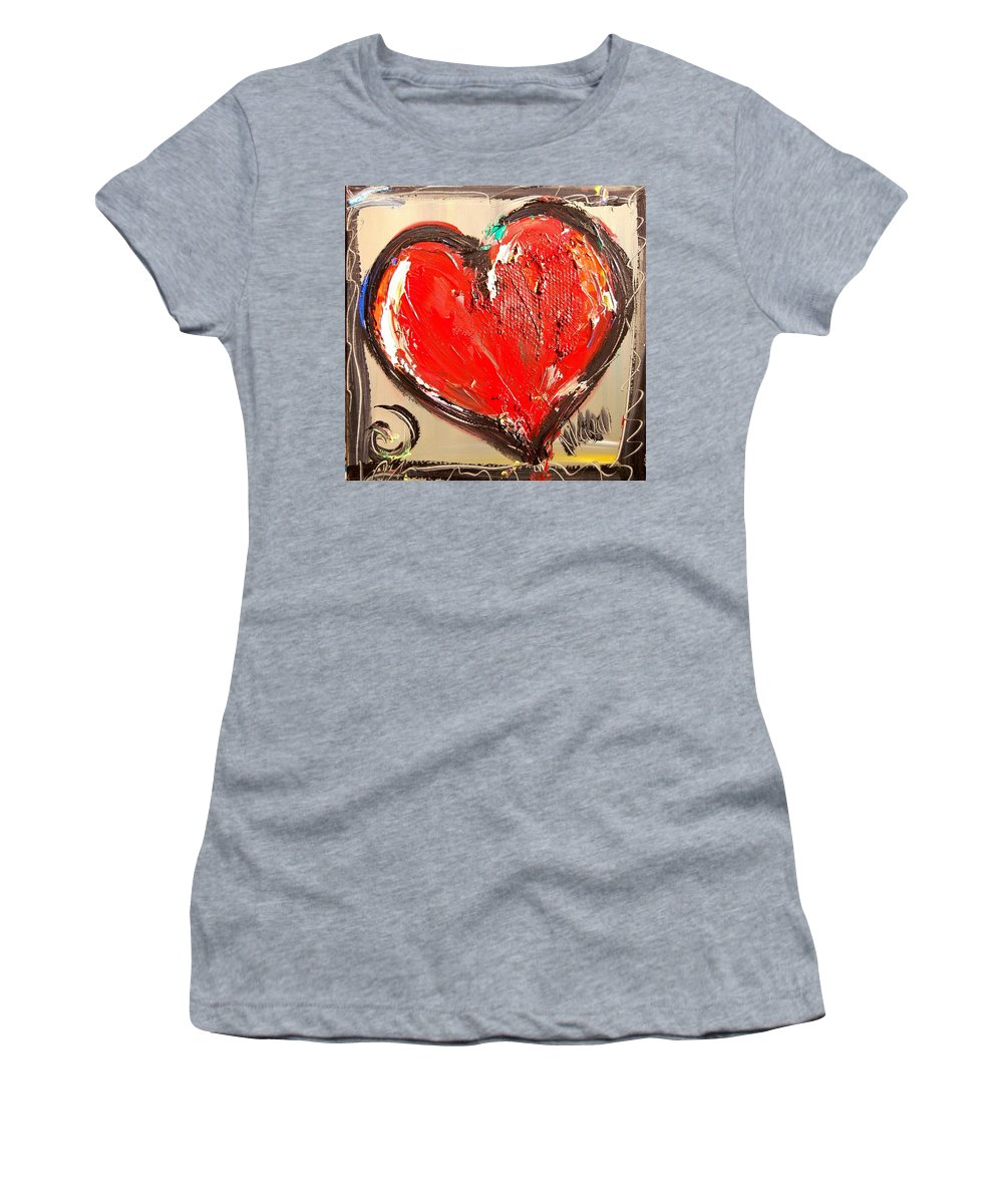 Surreal Framed Prints Women's T-Shirt (Athletic Fit) featuring the painting Heart by Mark Kazav