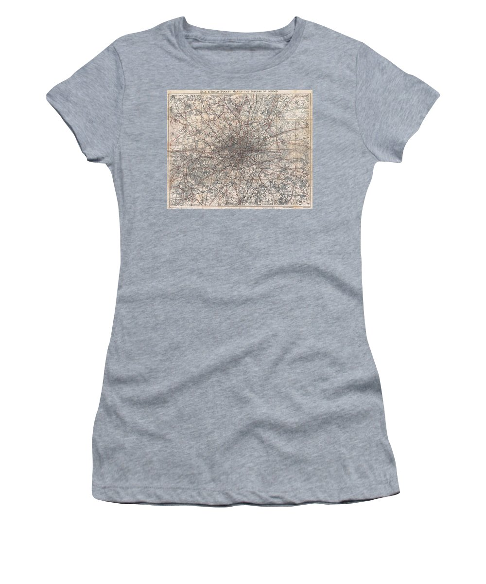 :1900 Gall And Inglis' Map Of London And Environs Women's T-Shirt (Athletic Fit) featuring the photograph 1900 Gall And Inglis' Map Of London And Environs by Paul Fearn